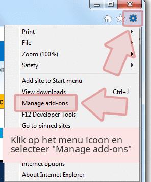 Klik op het menu icoon en selecteer 'Manage add-ons'