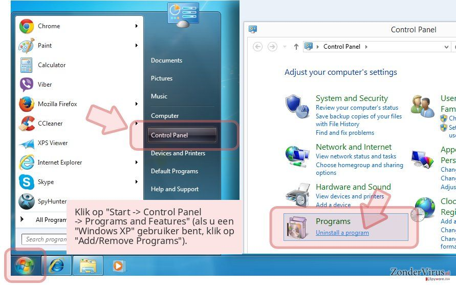 Klik op 'Start -> Control Panel -> Programs and Features' (als u een 'Windows XP' gebruiker bent, klik op 'Add/Remove Programs').