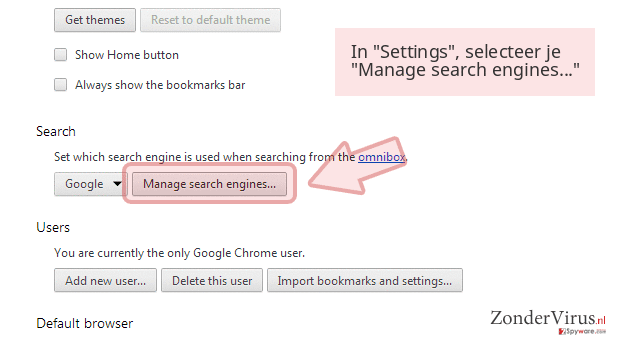 In 'Settings', selecteer je 'Manage search engines...'