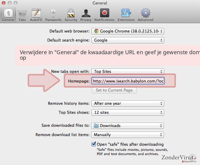Verwijdere in 'General' de kwaadaardige URL en geef je gewenste domein op