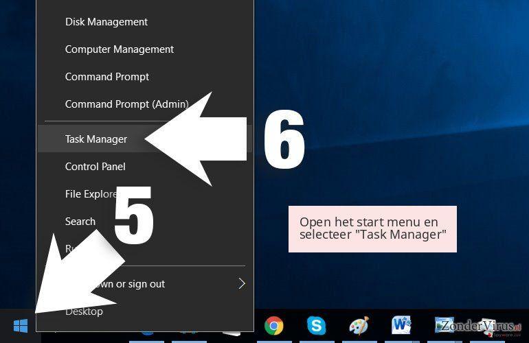 Open het start menu en selecteer 'Task Manager'