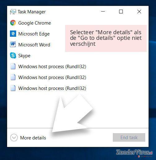 Selecteer 'More details' als de 'Go to details' optie niet verschijnt