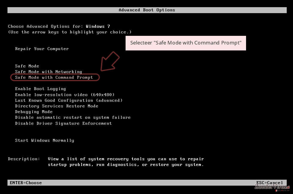 Selecteer 'Safe Mode with Command Prompt'
