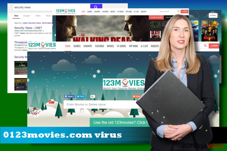 Illustratie van de browser-hijacker 0123movies.com
