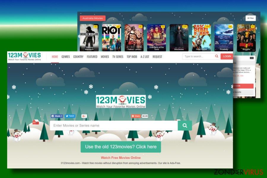 Een printscreen van het 0123movies.com-virus