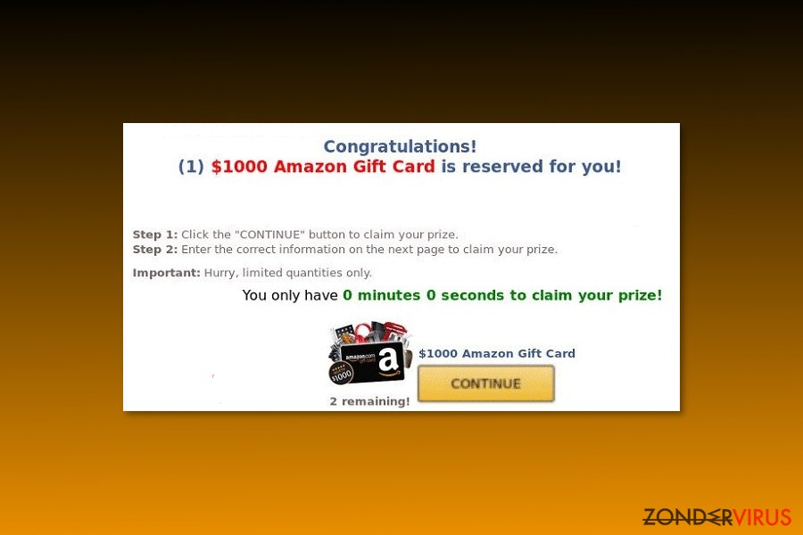 "Voorbeeld van het ""$1000 Amazon Gift Card is reserved for you"" virus"