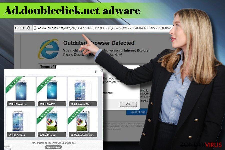 Illustratie van de adware van Ad.doubleclick.net