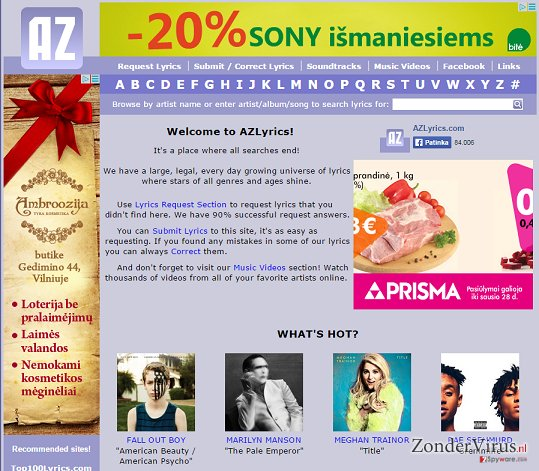 Advertenties door AZLyrics snapshot