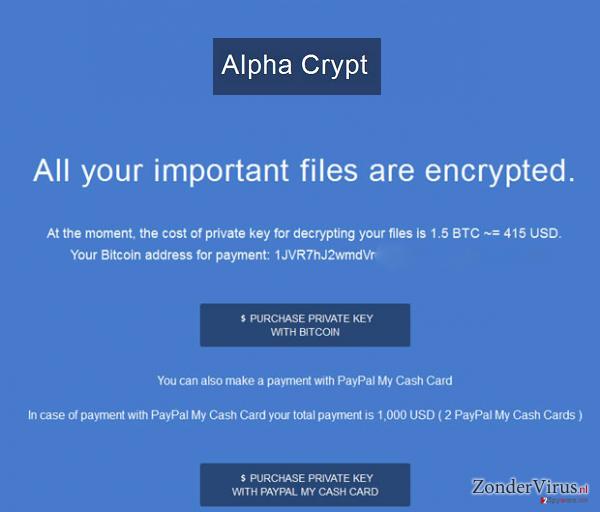 Het Alpha Crypt virus snapshot