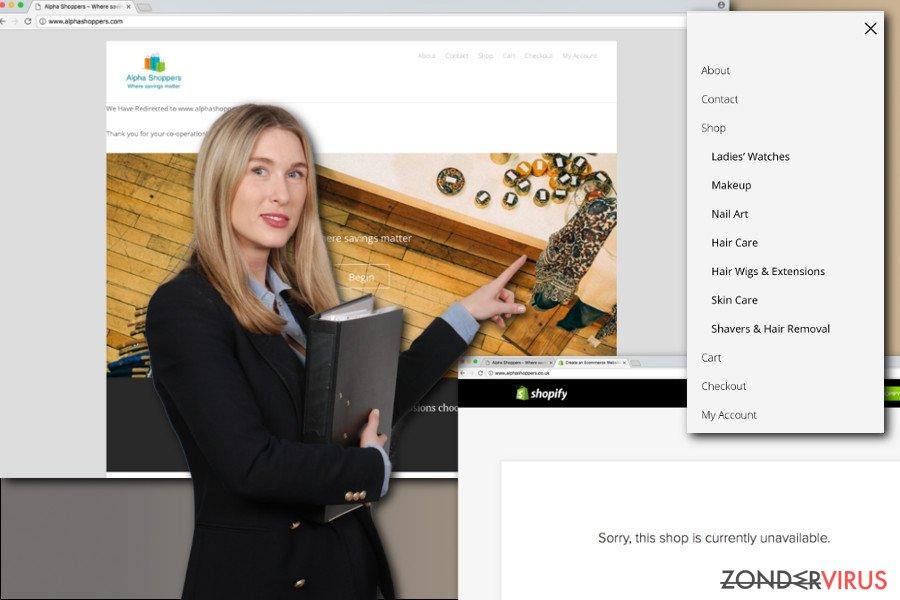 De afbeelding met de AlphaShoppers-extensie en hoofdpagina