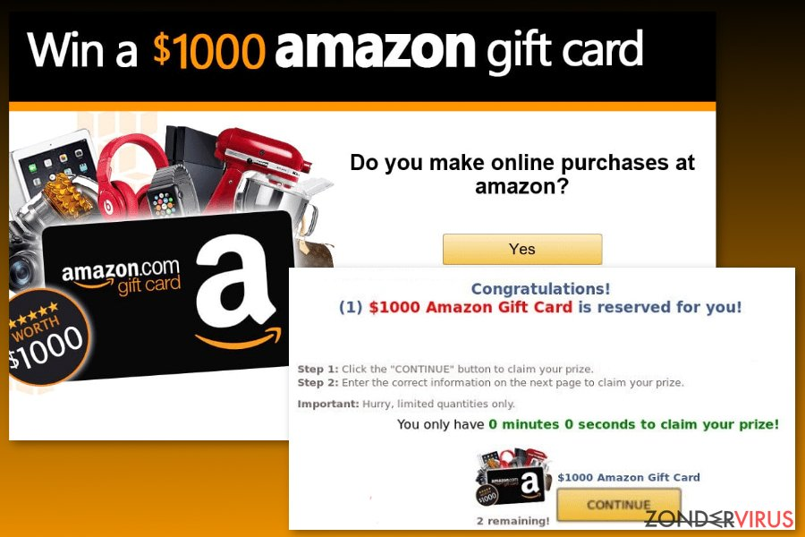 Amazon Gift Card virus voorbeeld