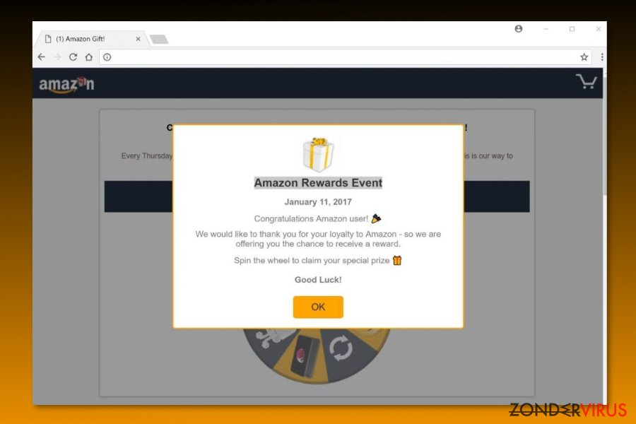 "Voorbeeld van de ""Amazon Rewards Event"" scam"