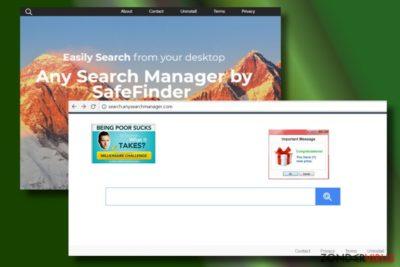 Hier wordt een webbrowser getoond die is gekaapt door Any Search Manager