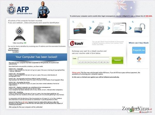 Australian Federal Police Ukash virus snapshot