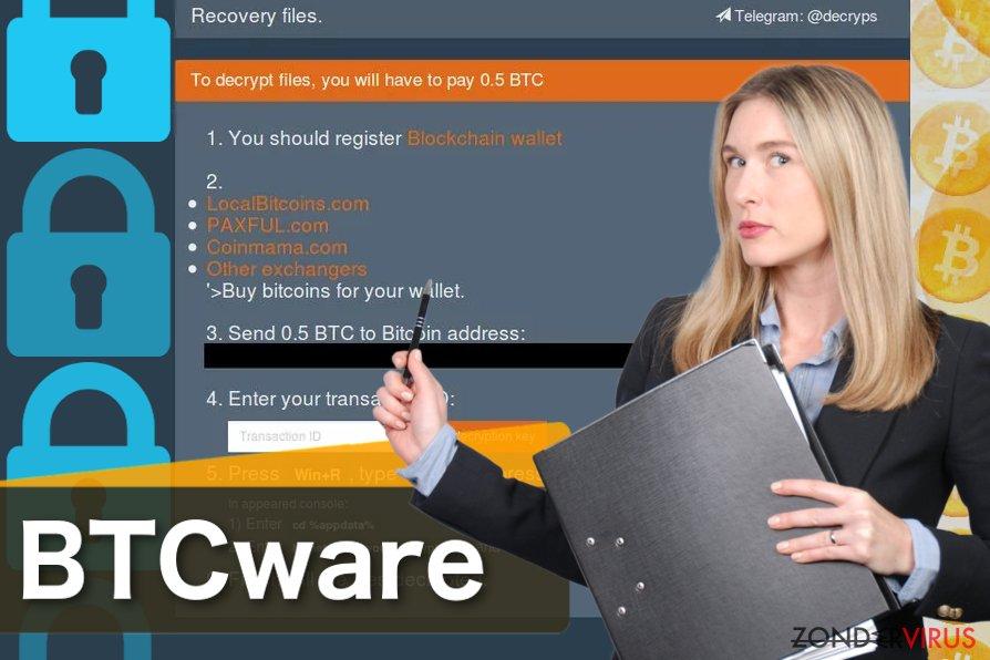 Schermafbeelding van het BTCware virus