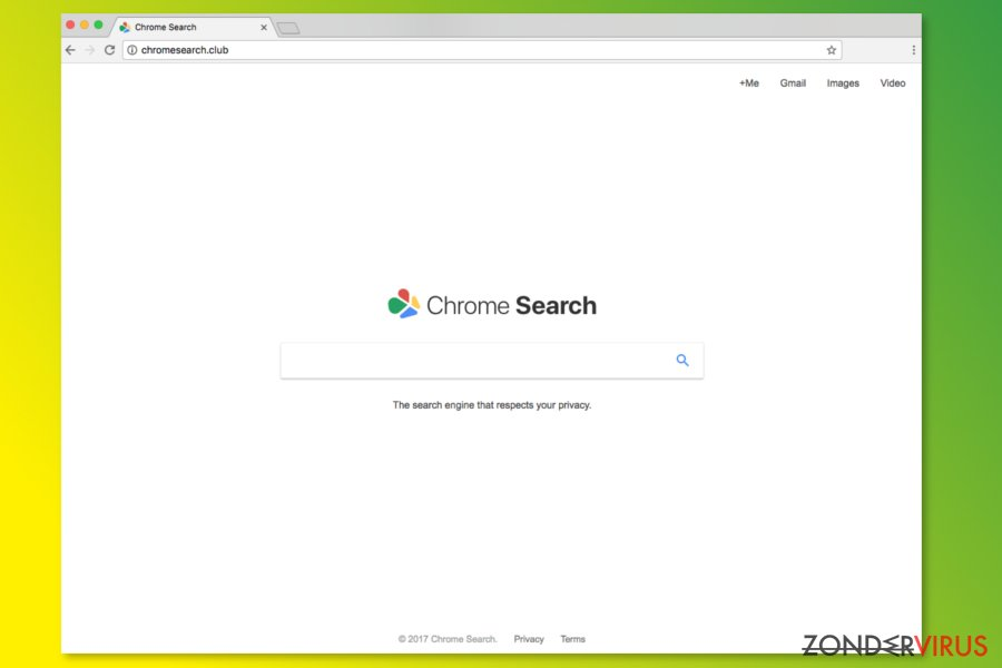 De startpagina van ChromeSearch.club