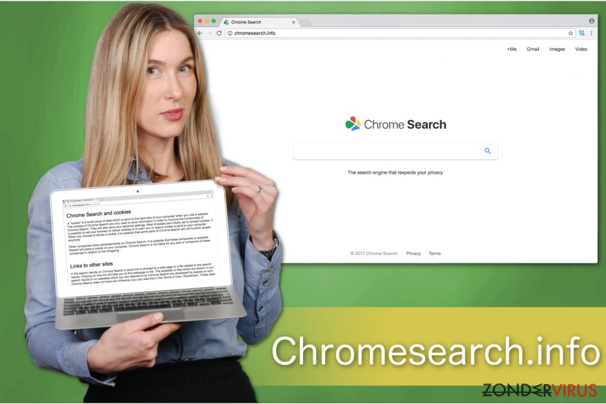 Illustratie van de Chromesearch.info-zoekmachine