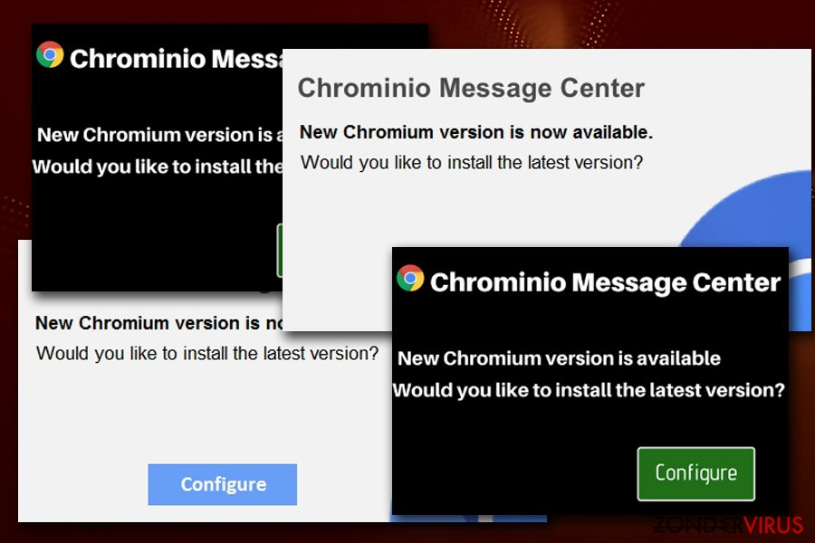 Chrominio Message nep waarschuwing