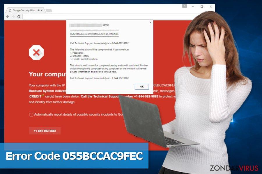 Foto van de Code 055BCCAC9FEC-zwendel op het gebied van technische ondersteuning