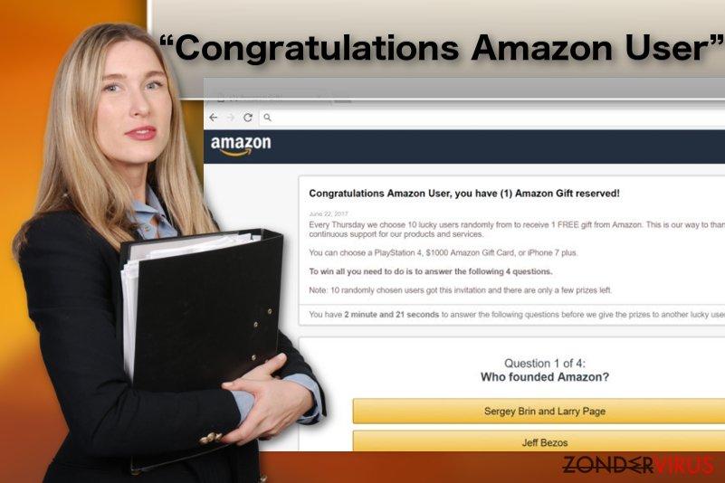 "Illustratie inzake het ""Congratulations Amazon User""-adwarevirus"