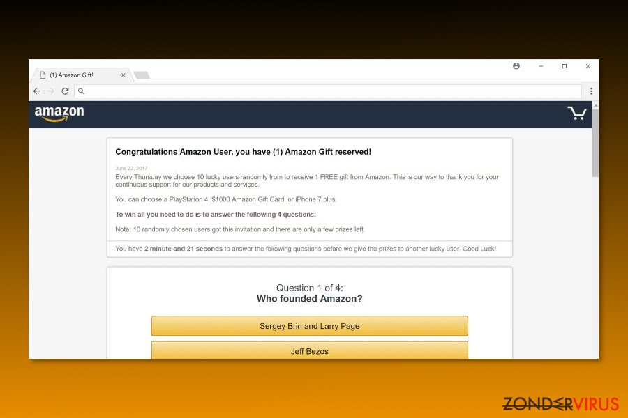 "Image of ""Congratulations Amazon User"" virus"
