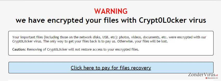 Crypt0L0cker warning on screen