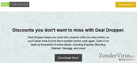Deal Dropper pop-up advertenties snapshot