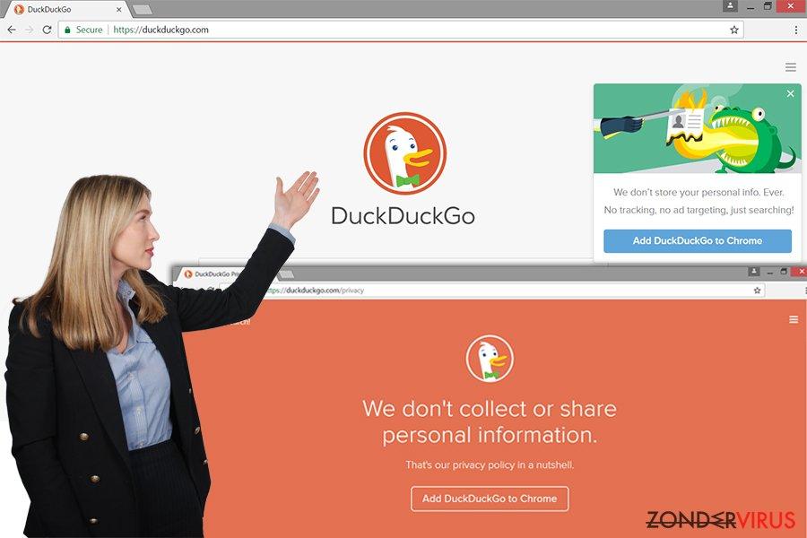De DuckDuckGo adware-website