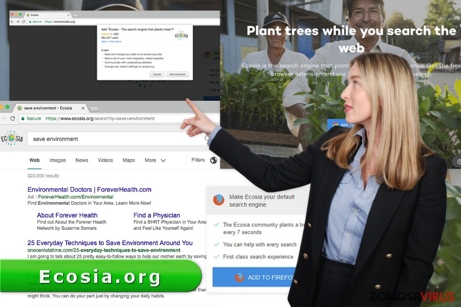 Afbeelding van het Ecosia.org-virus