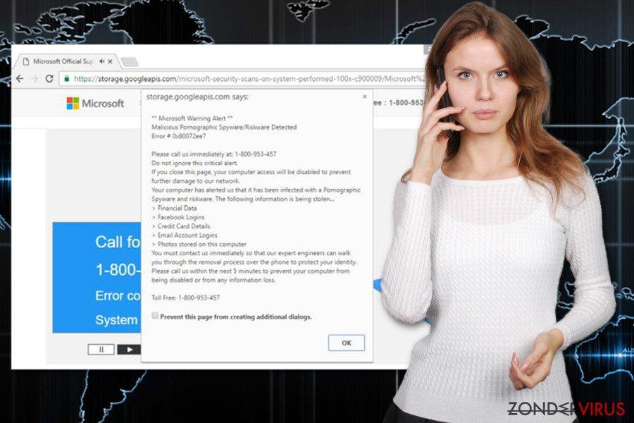 """Afbeelding van het """"Error 0x80072ee7""""-virus"""