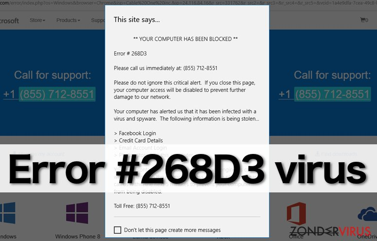 """Error #268D3"" virus snapshot"