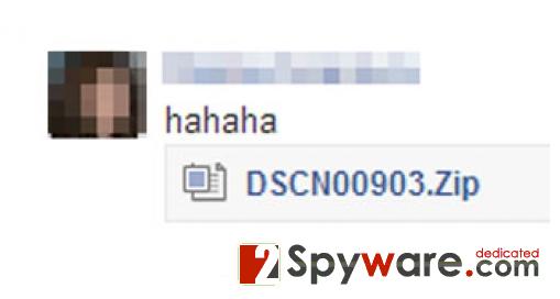 "Facebook ""hahaha"" virus snapshot"