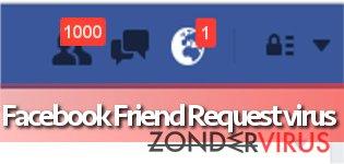Afbeelding van het Facebook Friend Request-virus.