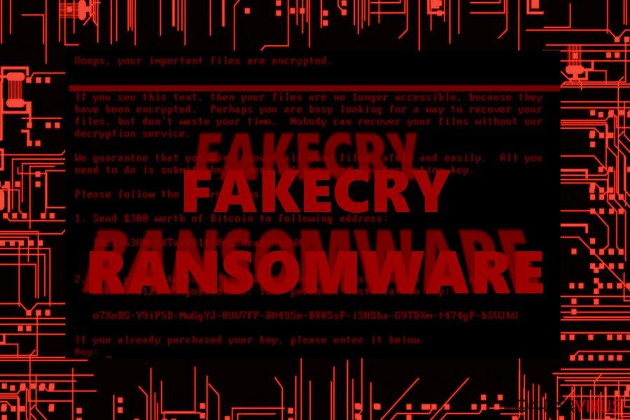 De afbeelding waarop het FakeCry-virus te zien is.