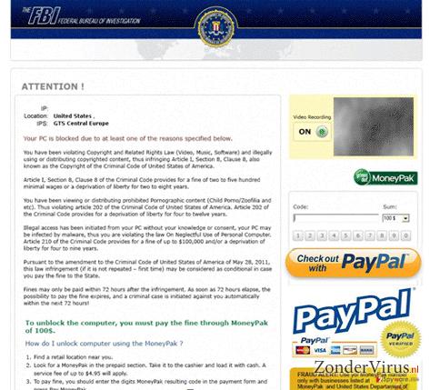 FBI PayPal virus snapshot