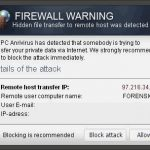"""Firewall Warning"" Pop up snapshot"