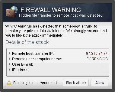"""""""Firewall Warning"""" Pop up snapshot"""