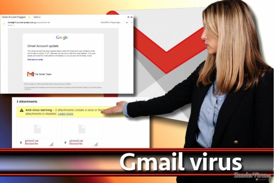 Screenshot van het Gmail-virus