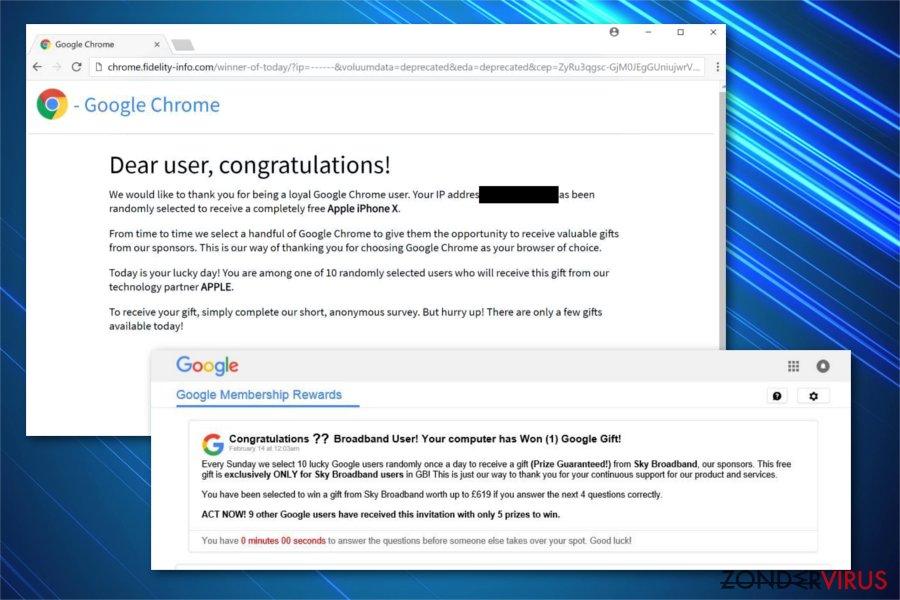 Afbeelding van de 'Google Prize'-oplichting