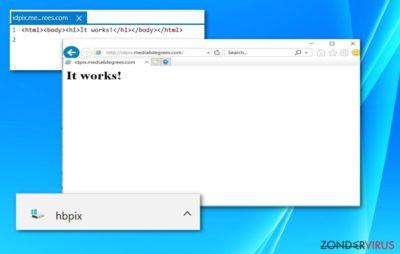 Schermafbeelding van de HBPix file en /idpix.media6degrees.com website