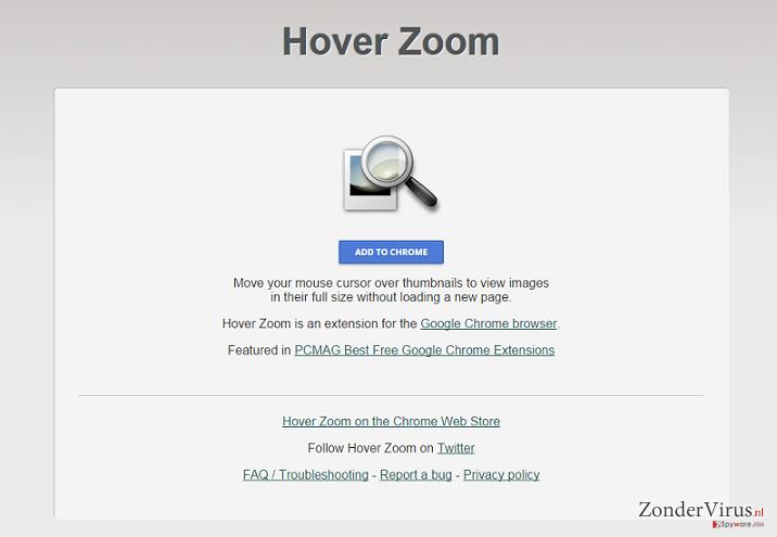 Hover Zoom advertenties snapshot