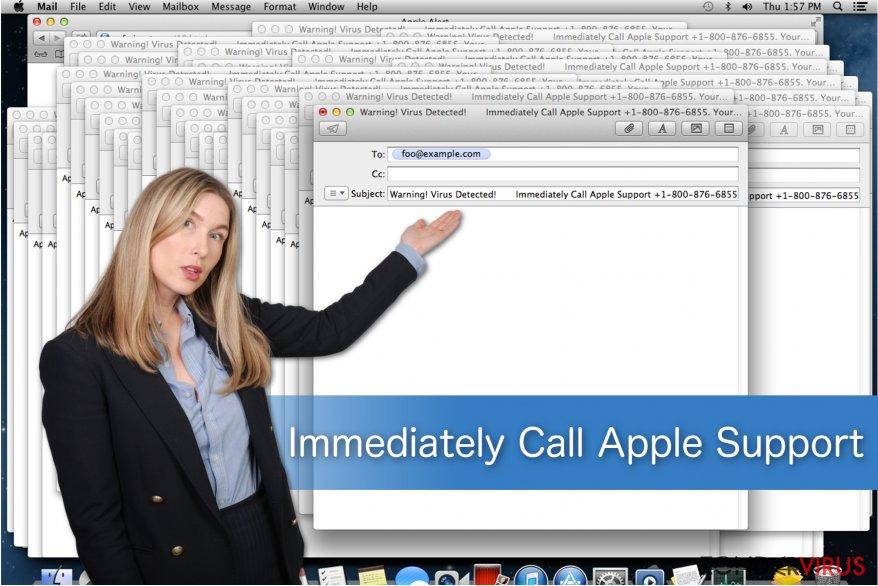 Illustratie van de Immediately Call Apple Support-oplichterij