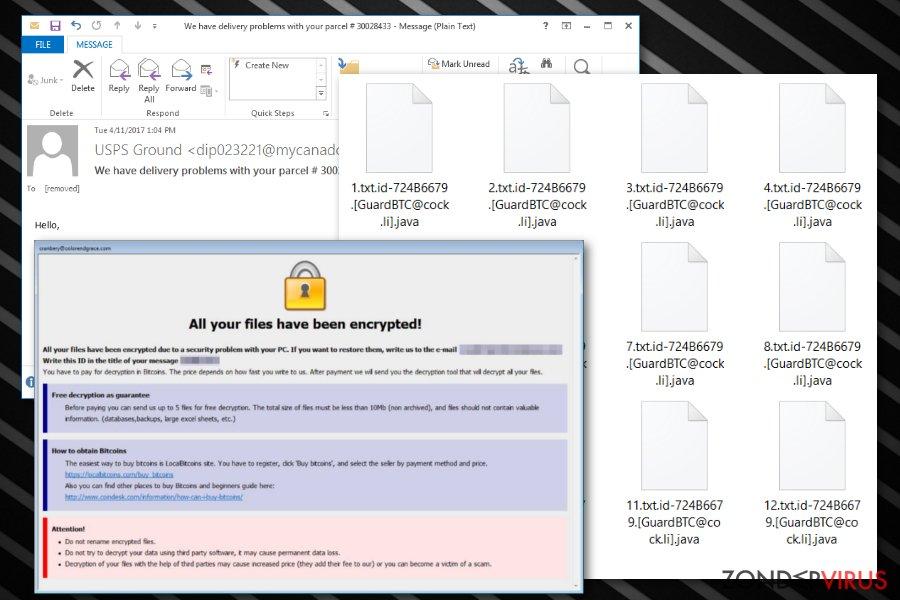 De .java bestandsextensie-gijzelsoftware snapshot