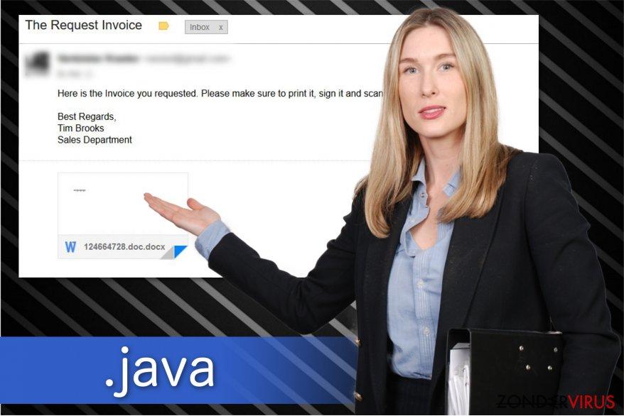 Illustratie van de .java bestandsextensie-gijzelsoftware