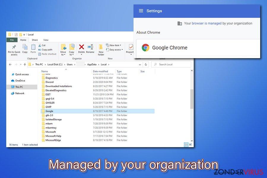 """Verwijdering van het """"Managed by your organization""""-virus"""