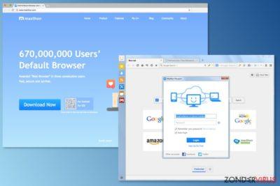De afbeelding van de Maxthon-browser