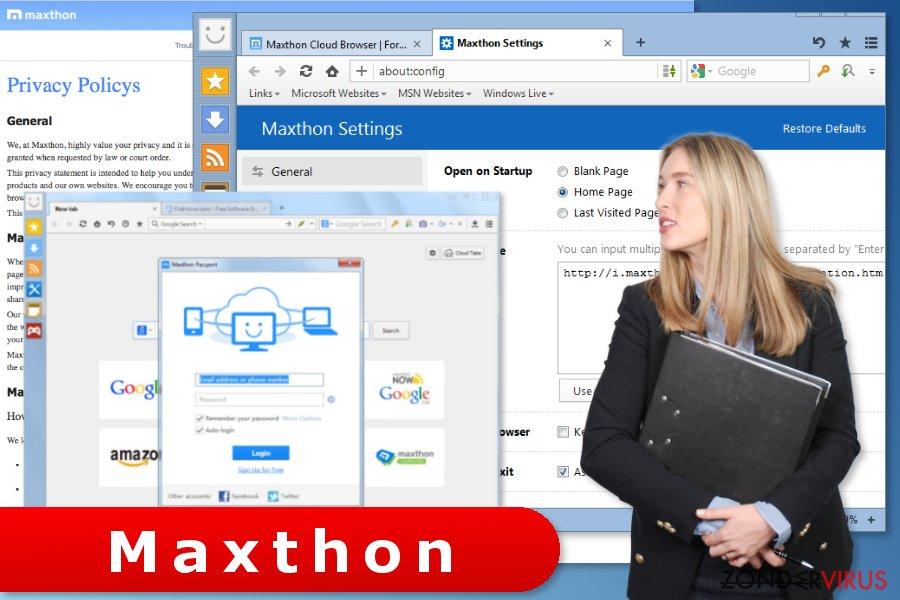 De afbeelding van de instellingen van de Maxthon-browser