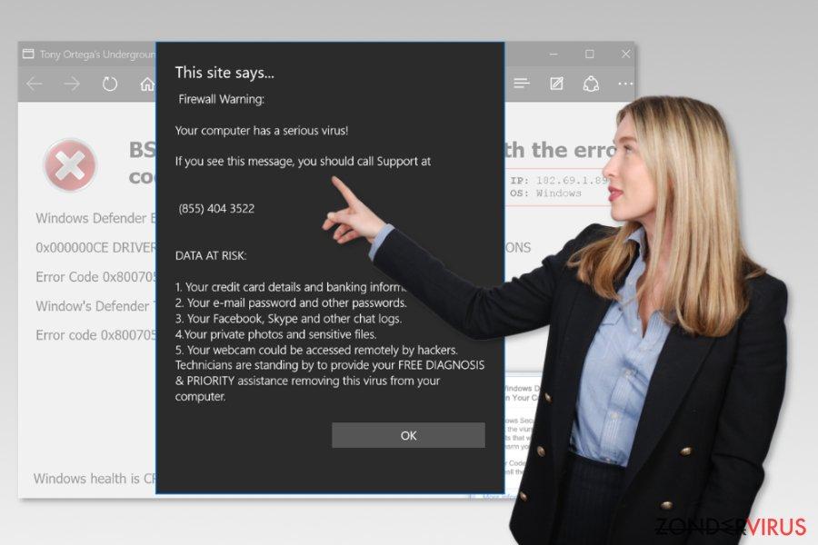 het Microsoft Edge ondersteuningszwendel-virus