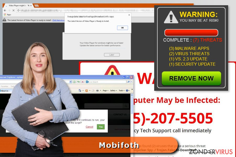 Voorbeeld van het Mobifoth virus